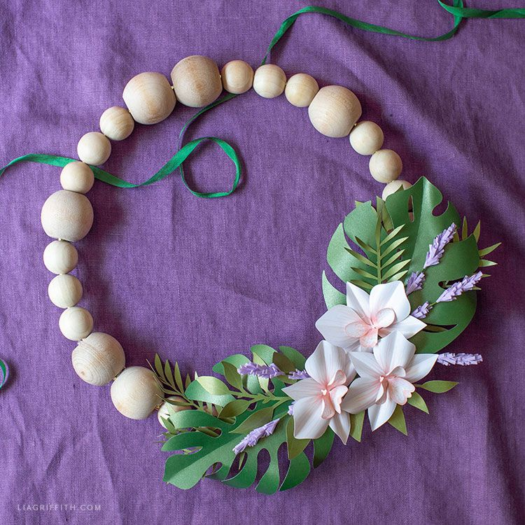 beaded wreath with paper flowers