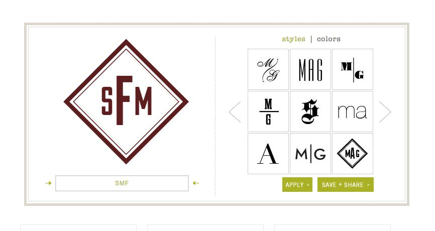 A screenshot of the Mark and Graham monogram generator