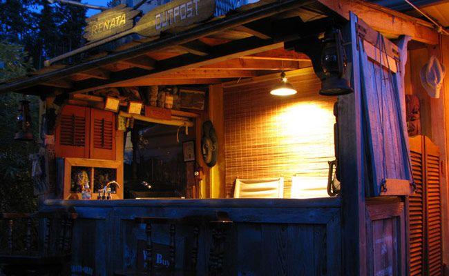 A handmade built Tiki bar.