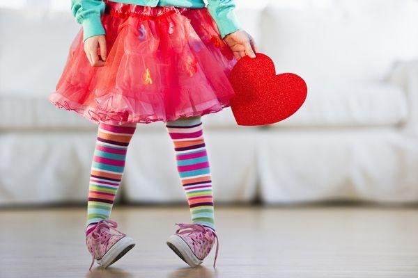 Girl holding valentine heart