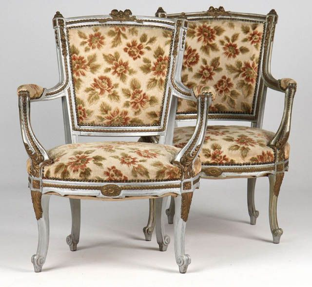 Whirl Feet on Pair of French Louis XV Antique Fauteuil Arm Chairs - Identifying Antique Furniture Foot Styles