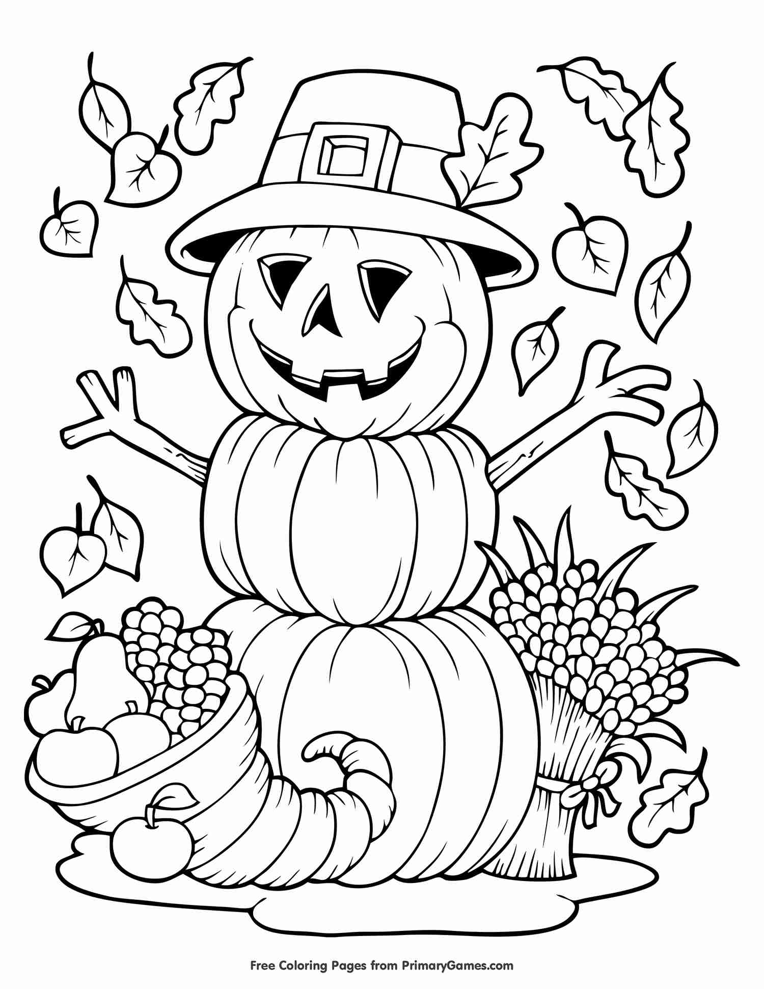 free thanksgiving coloring pages to print mandala amp scarecrow - HD 1500×1941