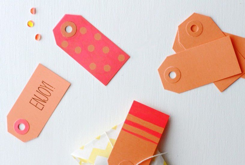 Pink and orange gift tags