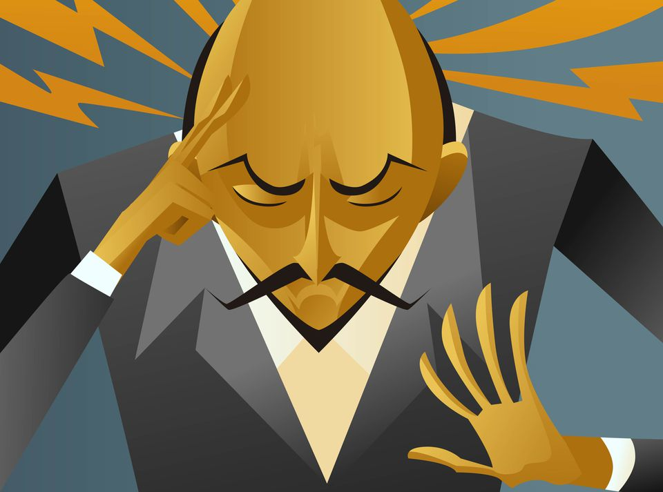 Illustration of a mentalist magician thinking with his fingers on his head