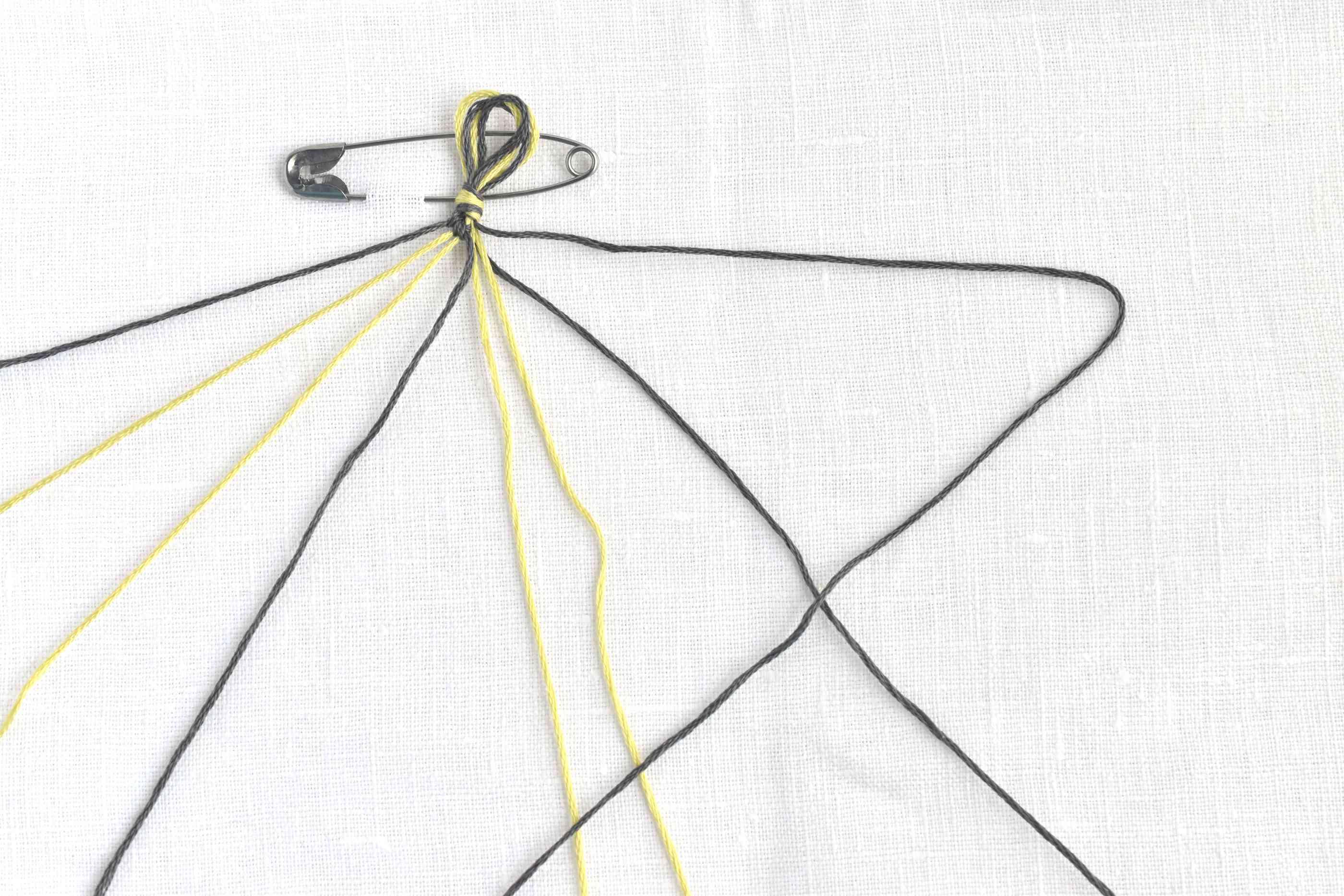 Make a backwards 4 to start a backwards knot