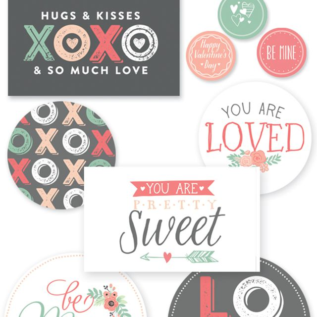 A collection of printable labels for Valentine's Day