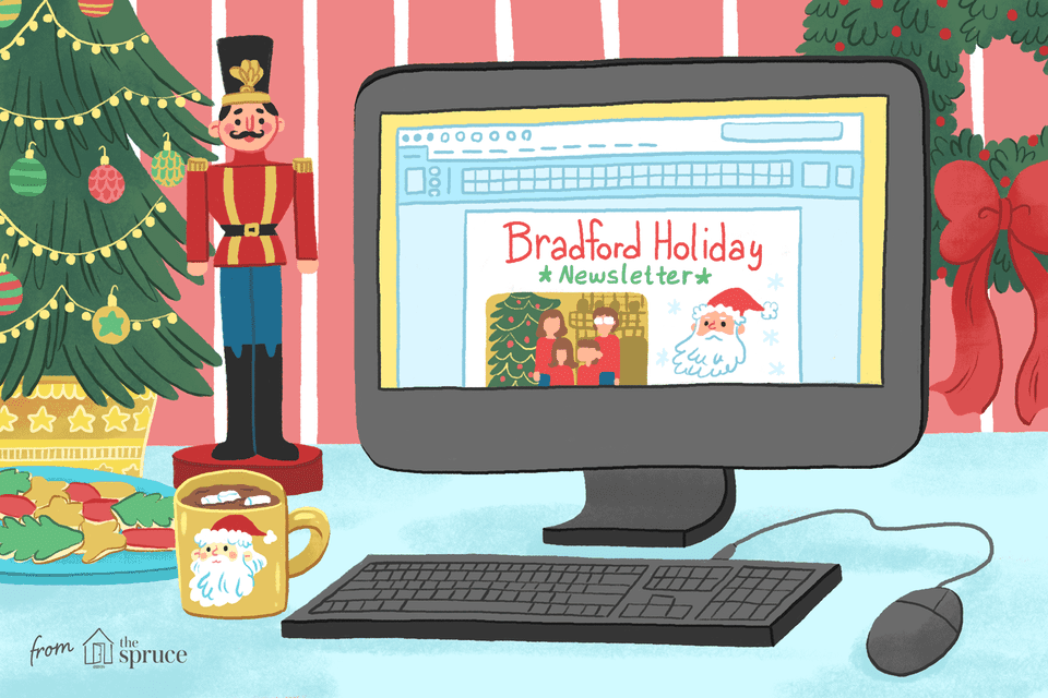 An illustration of a laptop with Christmas decorations around it and a holiday newsletter on the screen