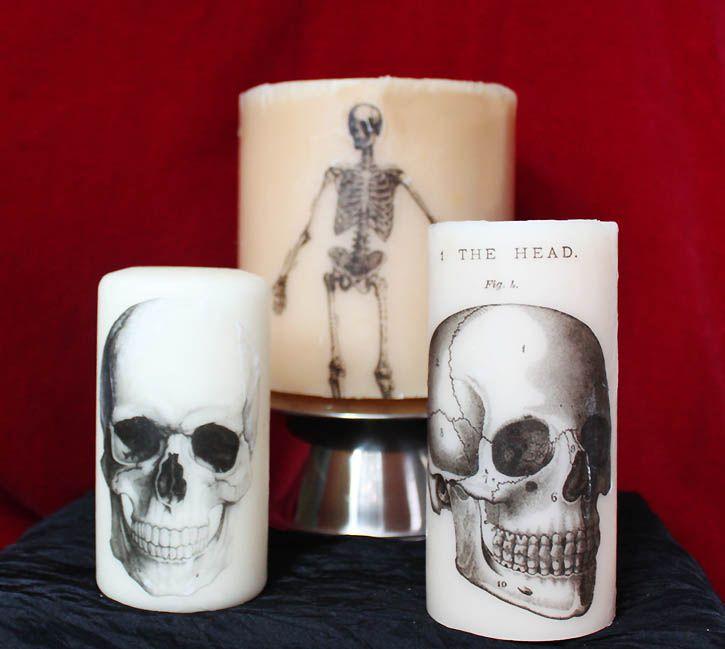 DIY Skull Halloween Candles