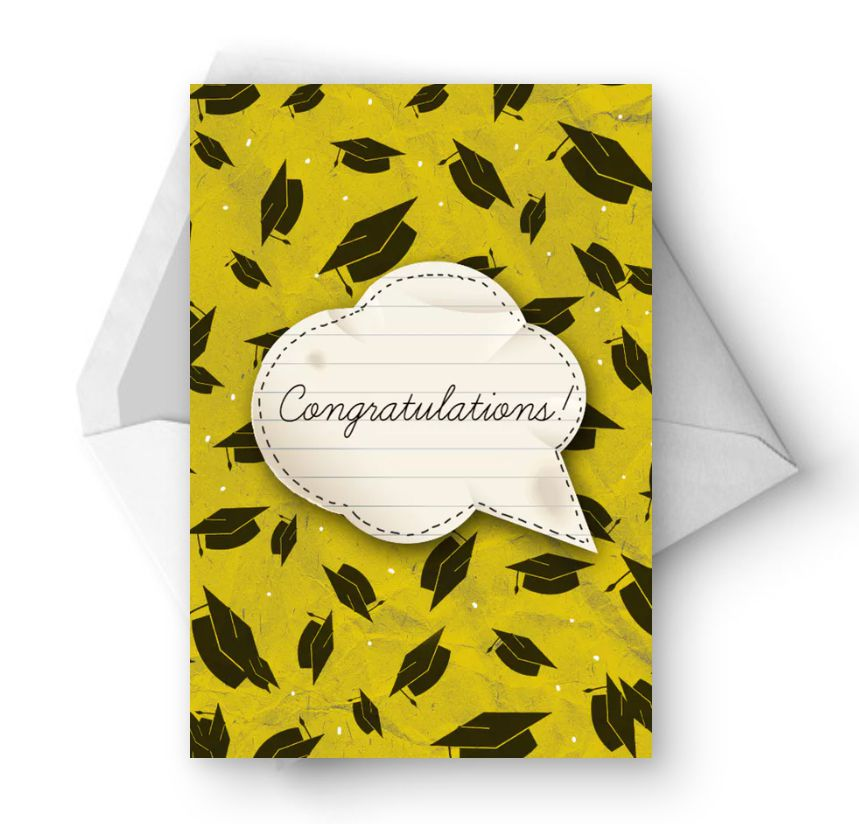 A black and yellow graduation card that says Congratulations!
