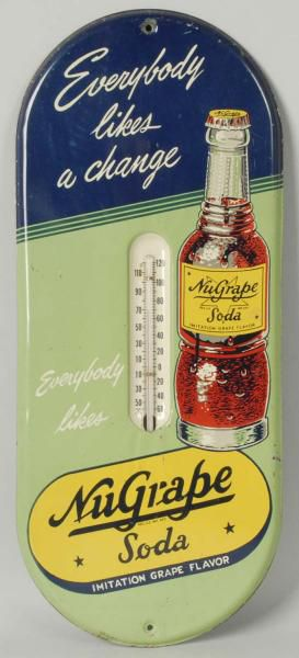 1940s NuGrape Soda Thermometer Advertising Sign