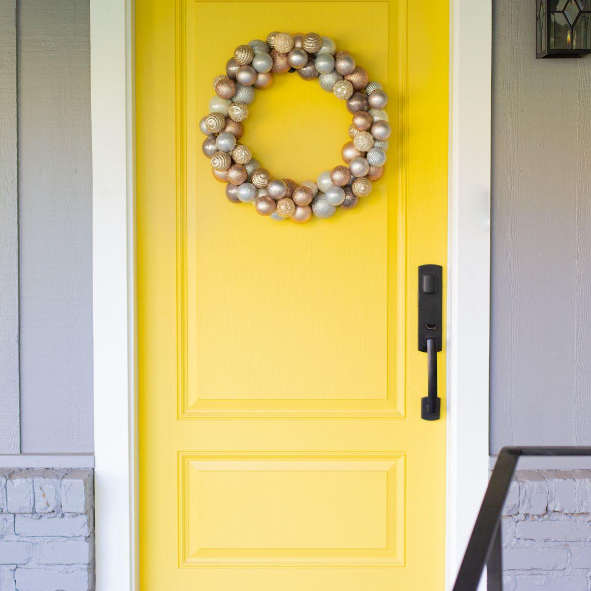 Ornament wreath on door