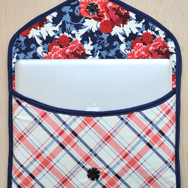 Floral and plaid laptop sleeve