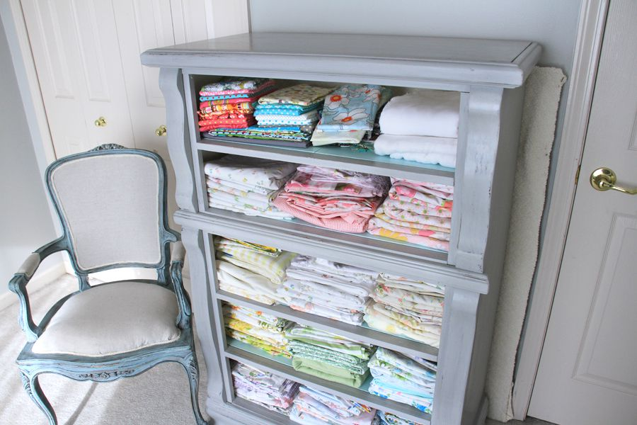 Use a dresser for fabric storage