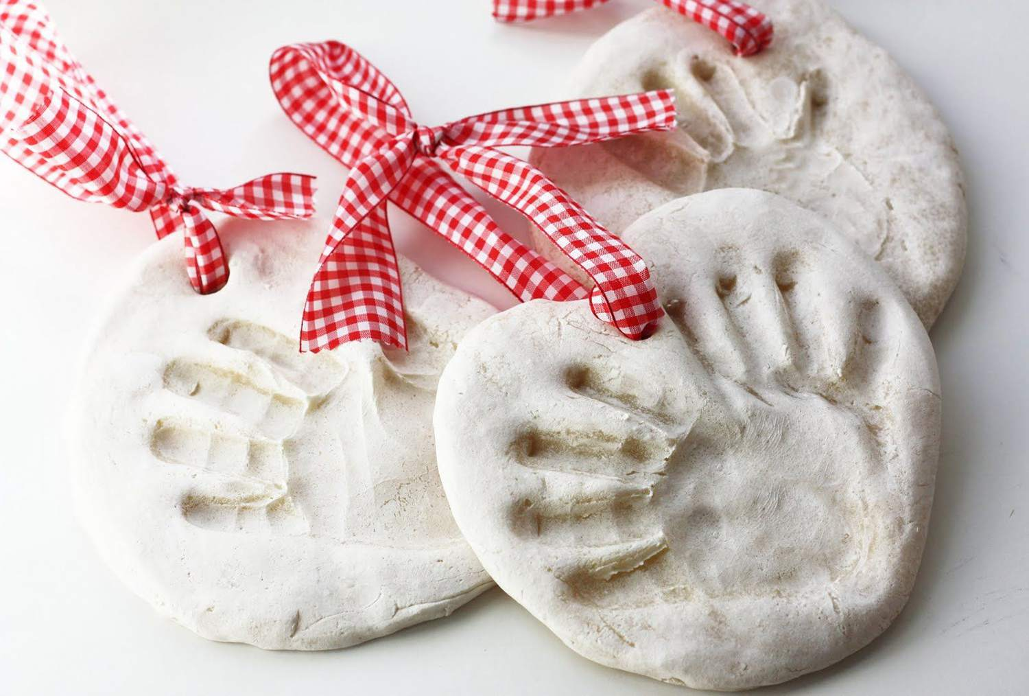 Handprint Ornaments With a Ribbon