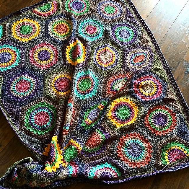 Scrap Yarn Hexagon Crochet Blanket Pattern