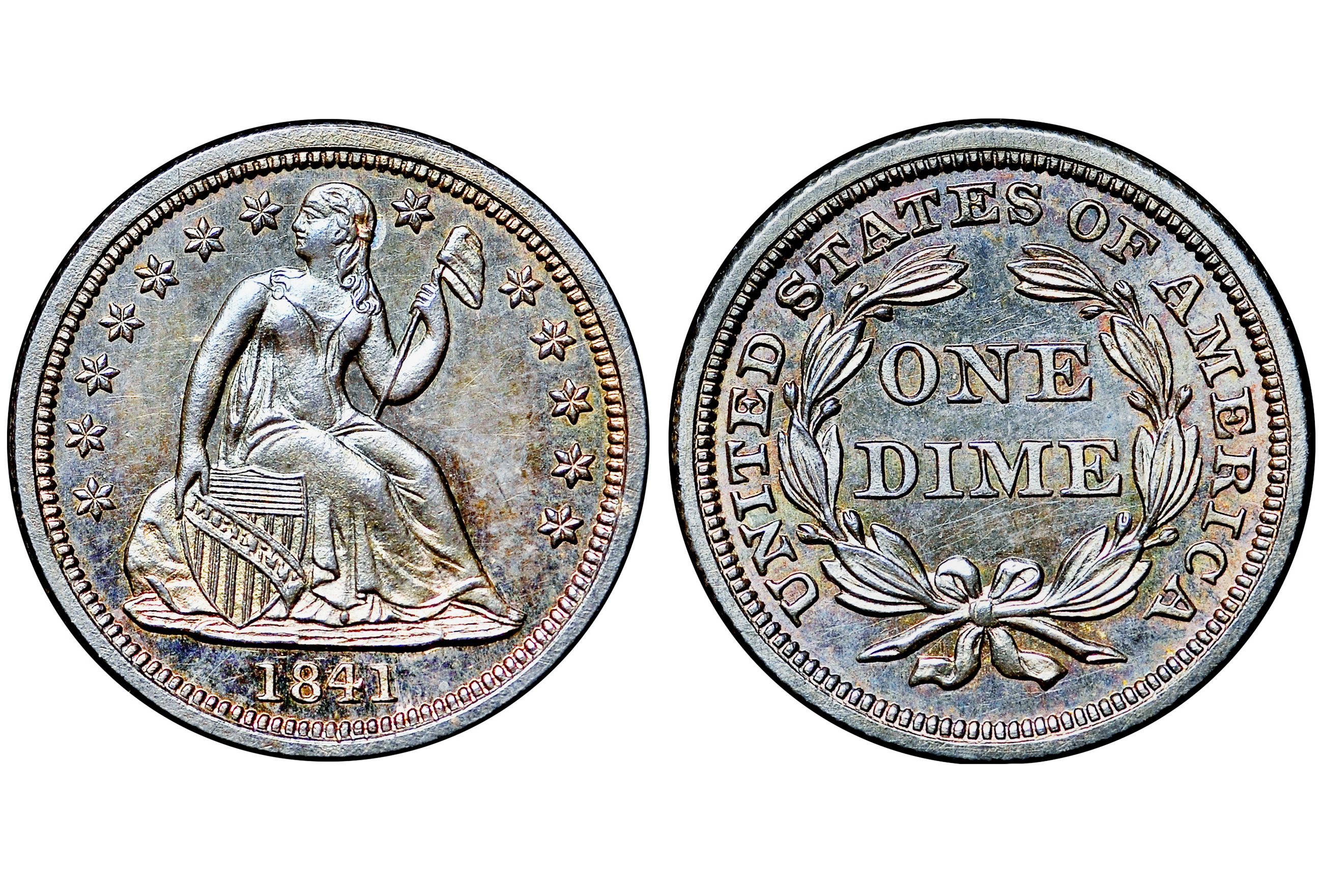 1841 Proof Liberty Seated Dime - No Drapery