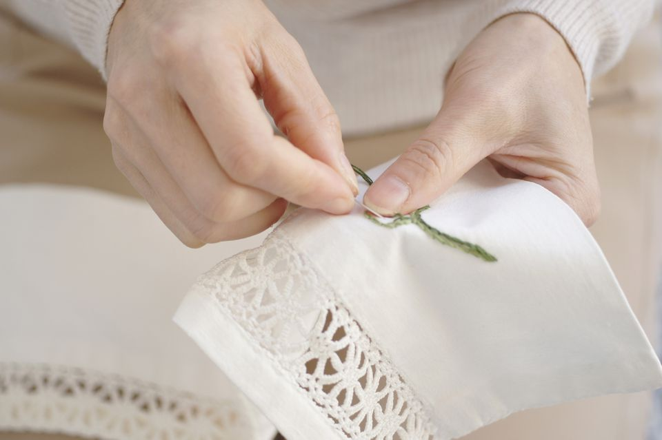 Close-up of woman's hand doing embroidery work