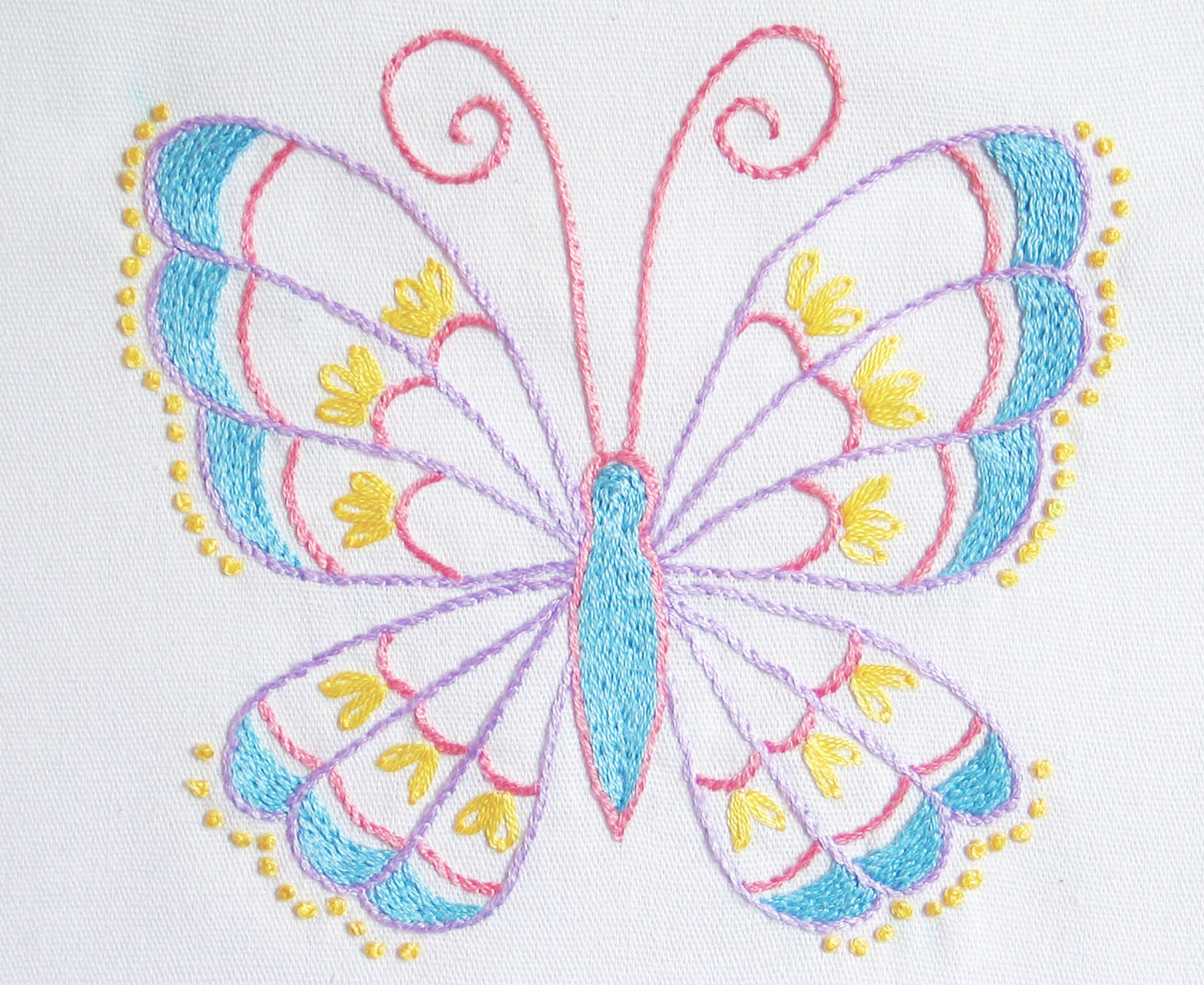Stem Stitch Butterfly Pattern