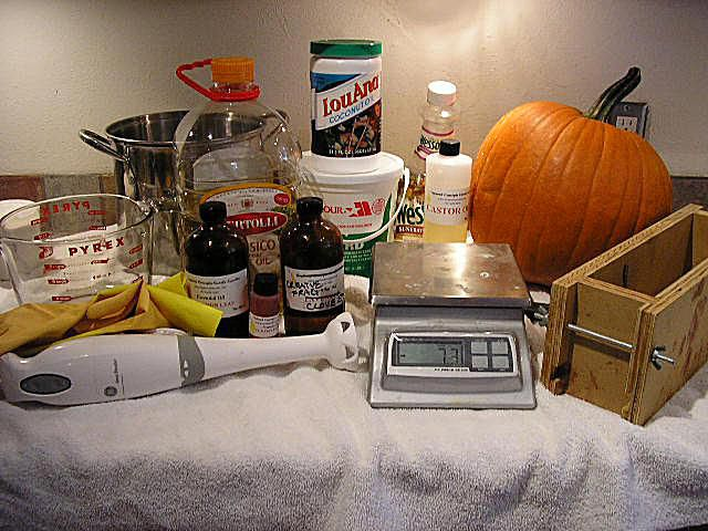 Ingredients for Pumpkin Soap