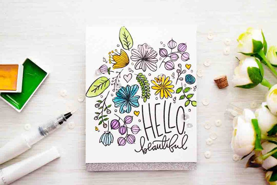 watercolor stamped flower card