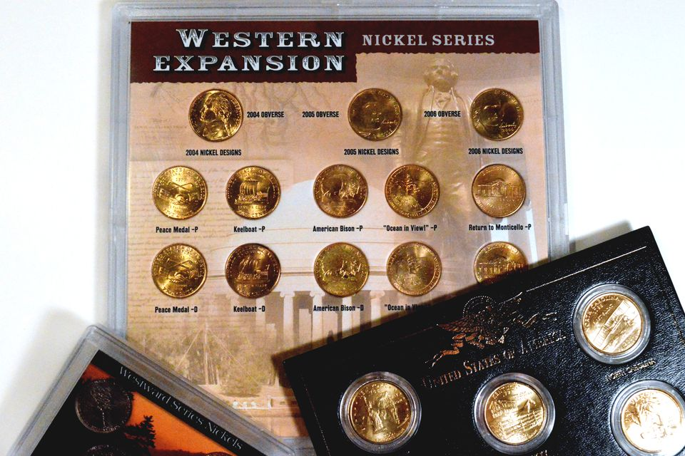 gold-plated United States coins in special packaging.