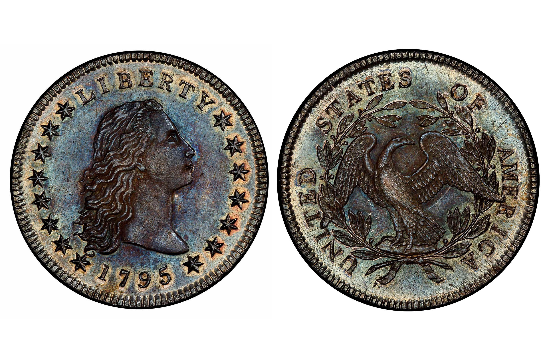 1795 Flowing Hair Dollar, 3 Leaves