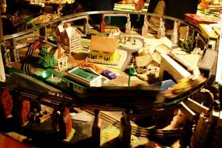 A set of homemade buildings in a train set