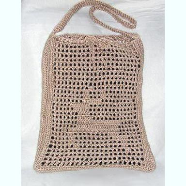 Crocheted Bag With Leaping Deer Motif by Sandi Marshall