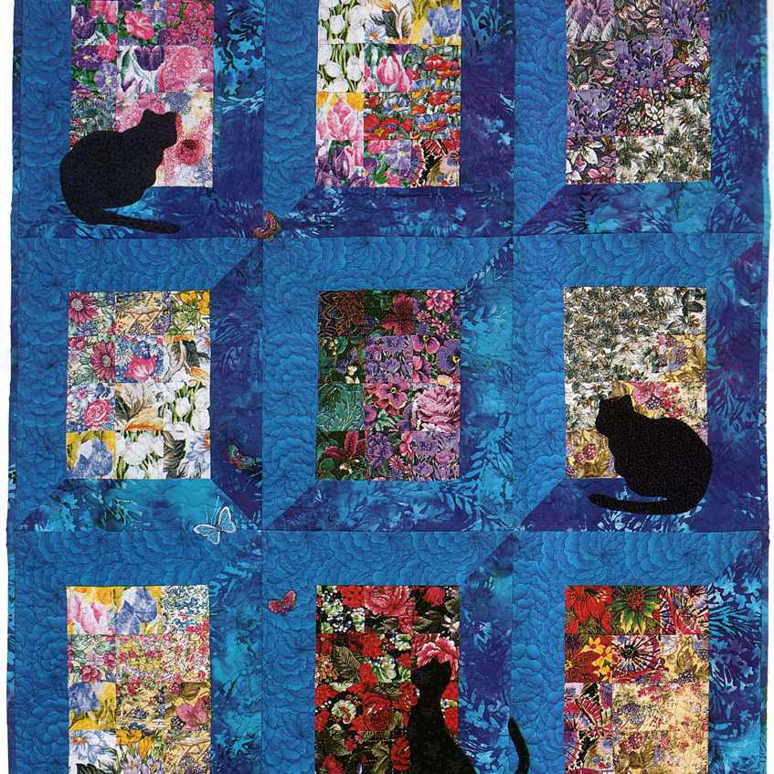 Catching the View cat quilt