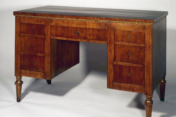A Directoire style cherry wood Venetian writing desk.
