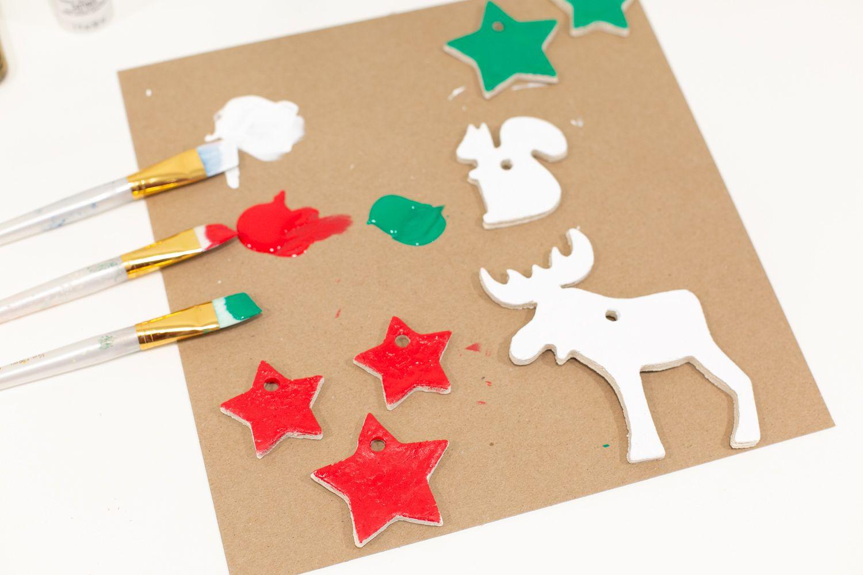 Painting DIY salt dough ornaments