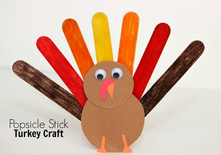 Popsicle Stick Turkey Craft For Kids