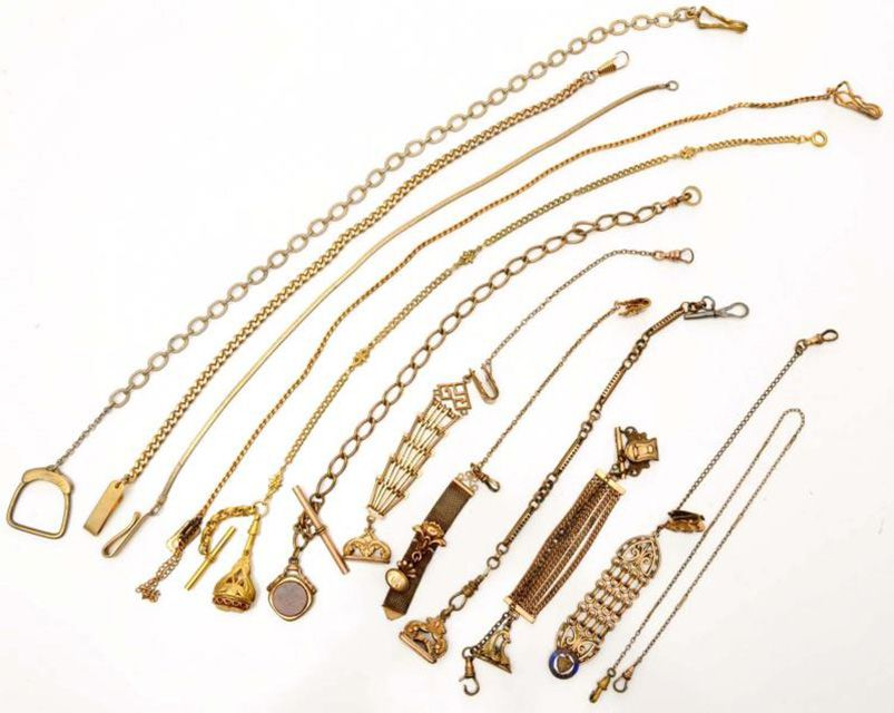 A variety of pocket watch chains