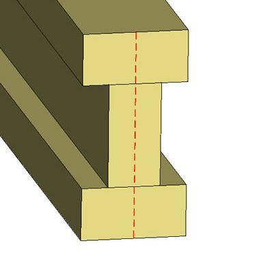 3D rendering of cross-section of wood blocks