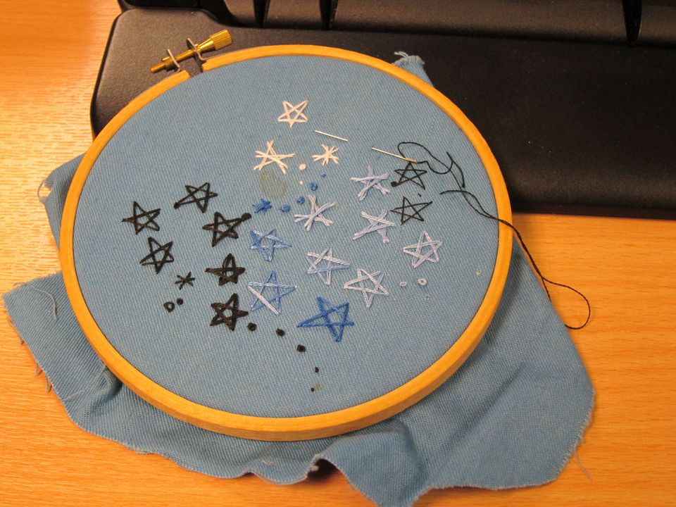 Star stitch embroidery practice