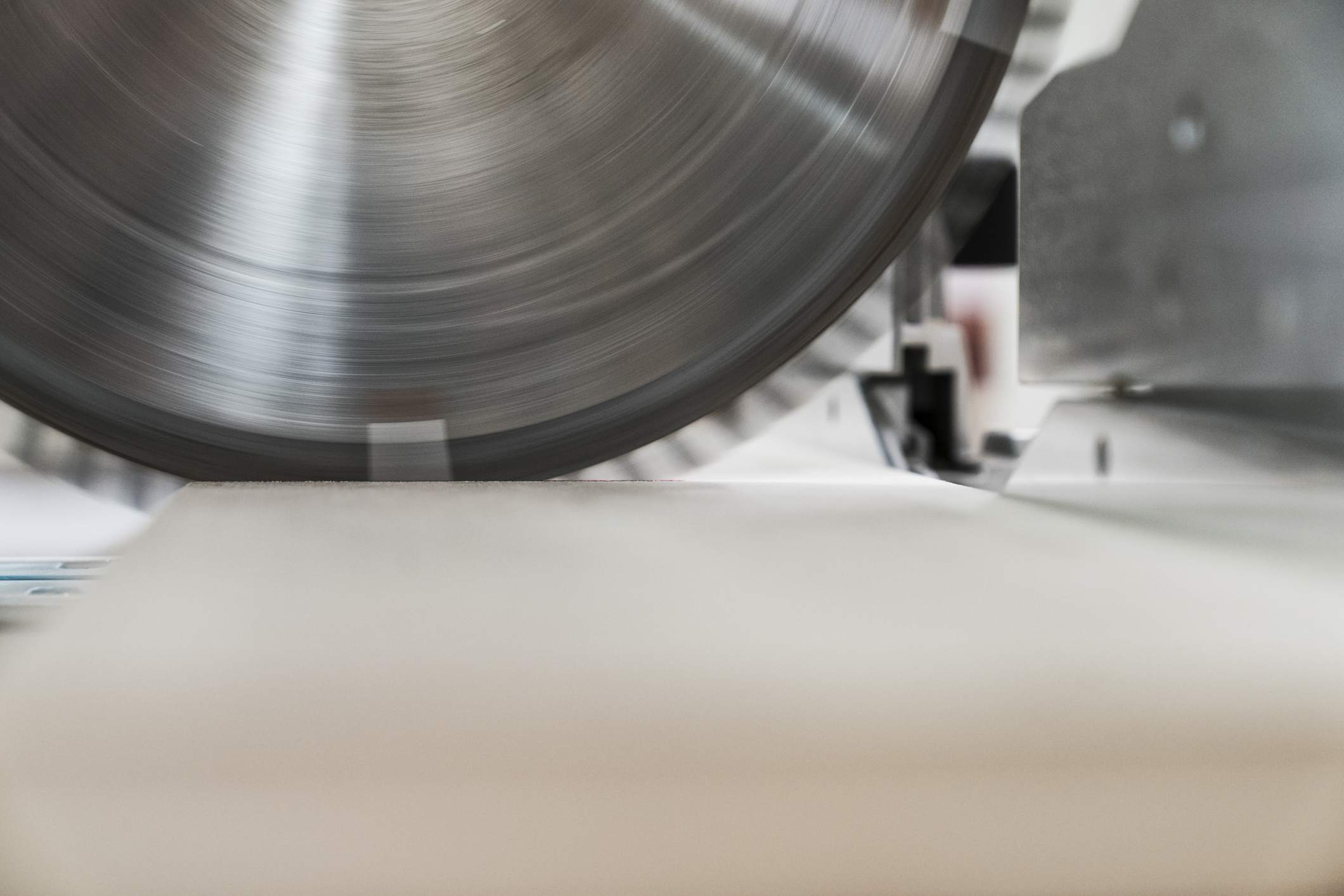 Close up of a radial saw blade
