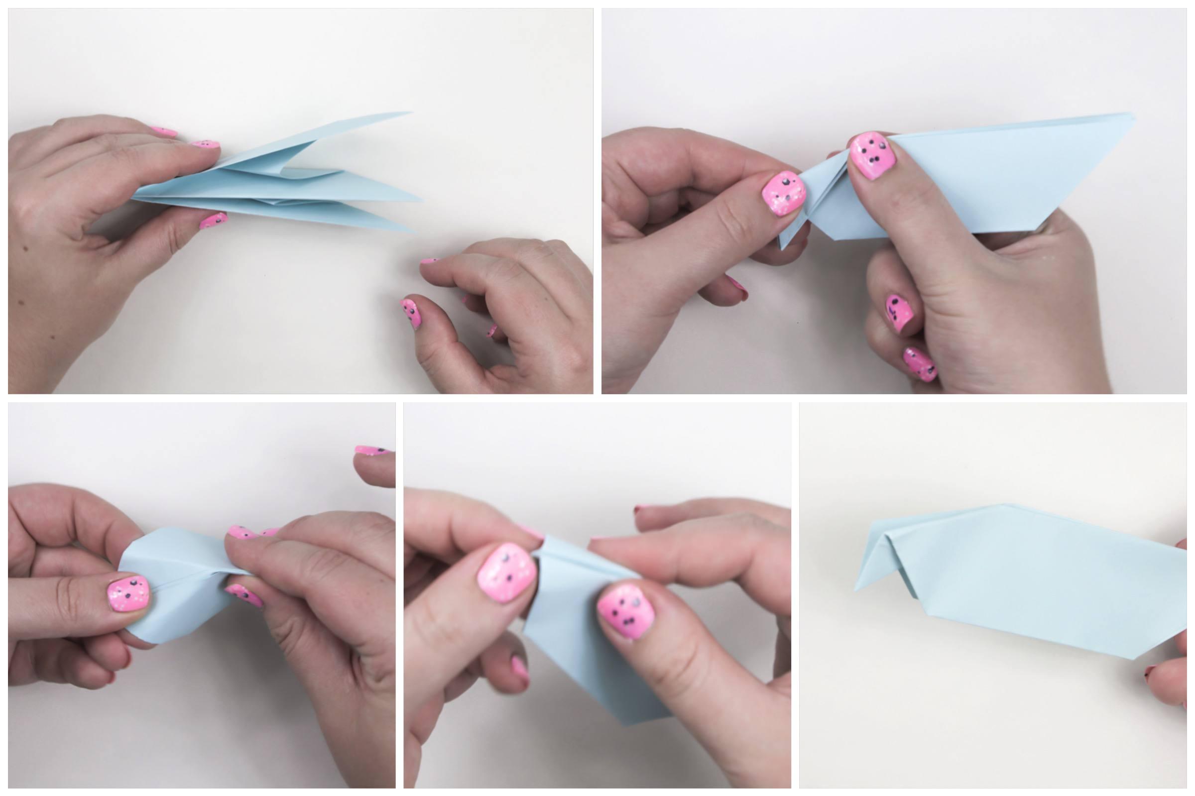 Making the beak of the origami peace dove