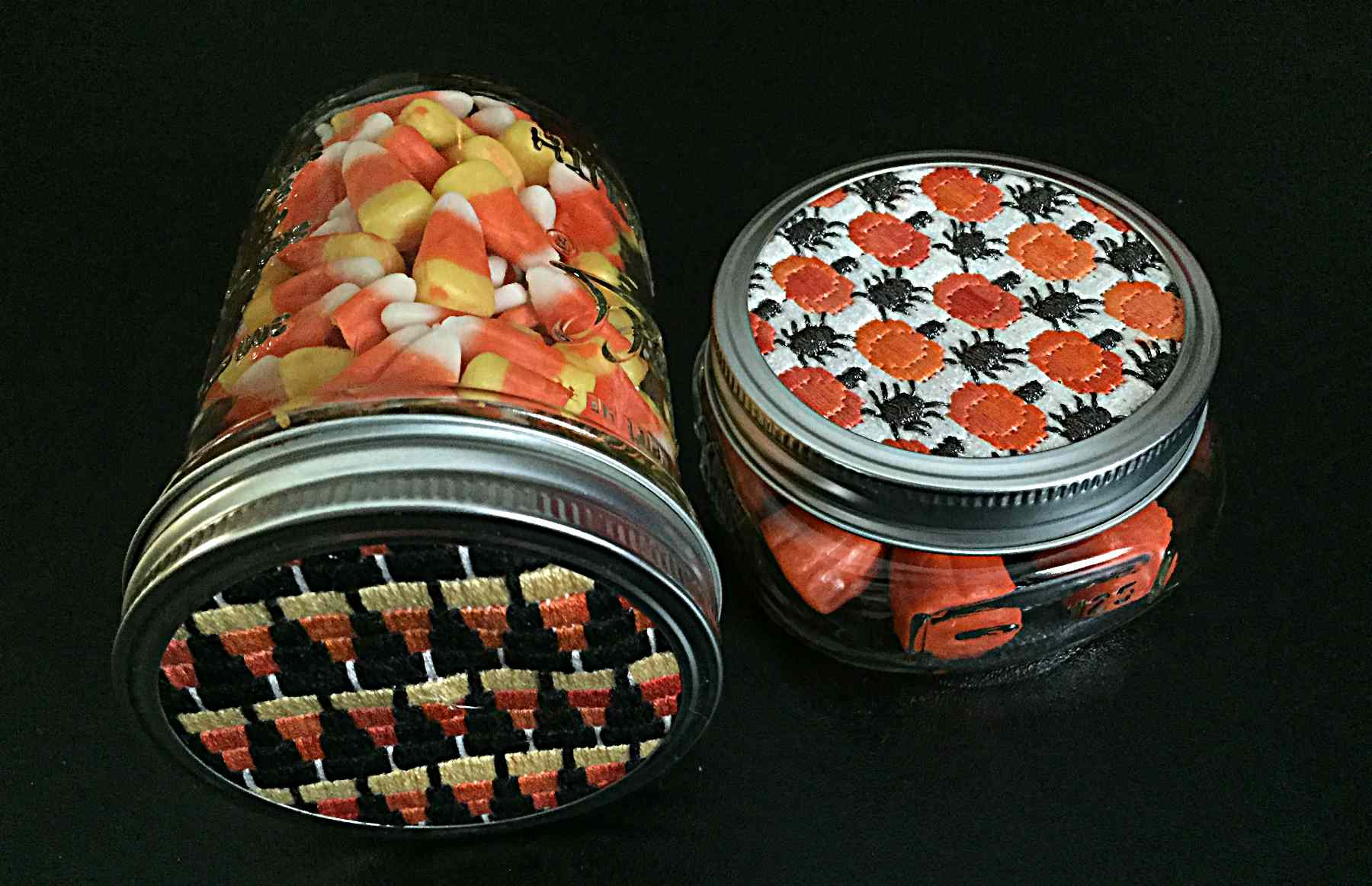 Free Halloween Needlepoint Design for Mason Jar Tops