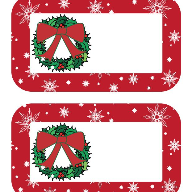 a gift tag with a red border and a wreath torta gialla these printable christmas - Printable Christmas Name Tags