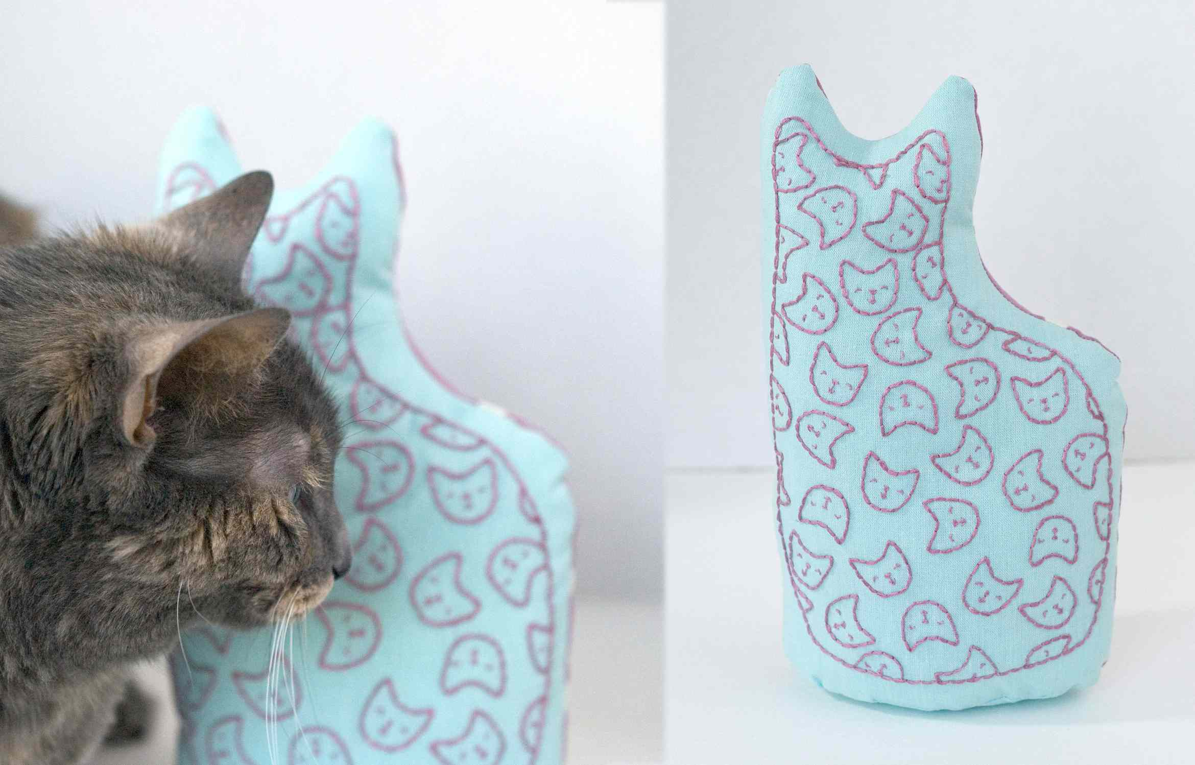 Stand Up Cat Embroidery Project