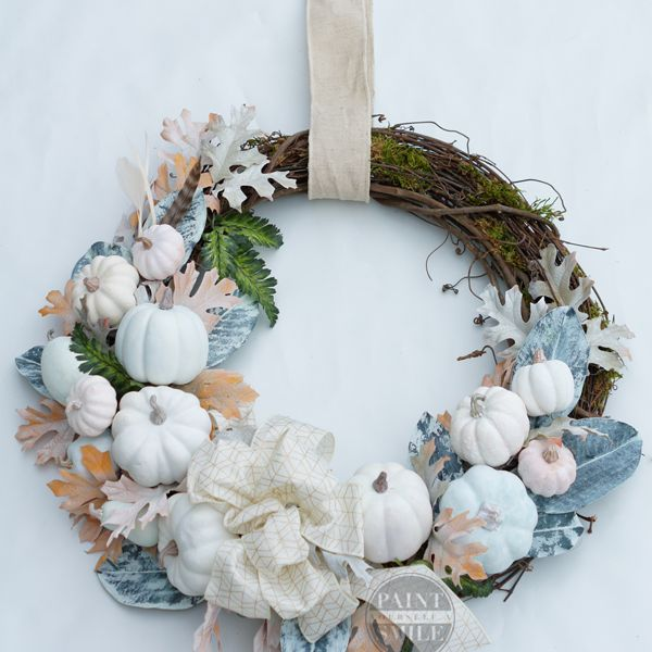 DIY Fall wreath with white pumpkins