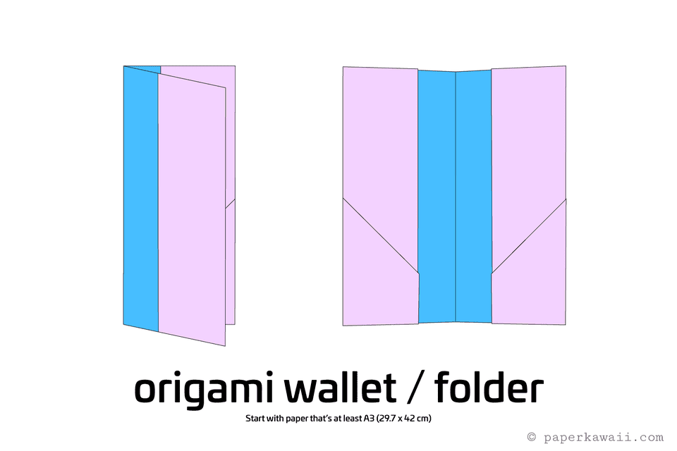 easy origami wallet diagram 1
