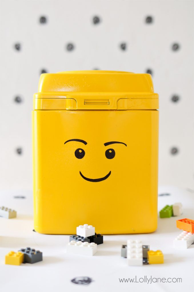 A bright yellow LEGO container