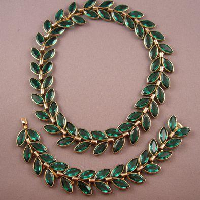 Circa: Late-1940s Trifari Green 1940s Laurel Necklace & Bracelet Set