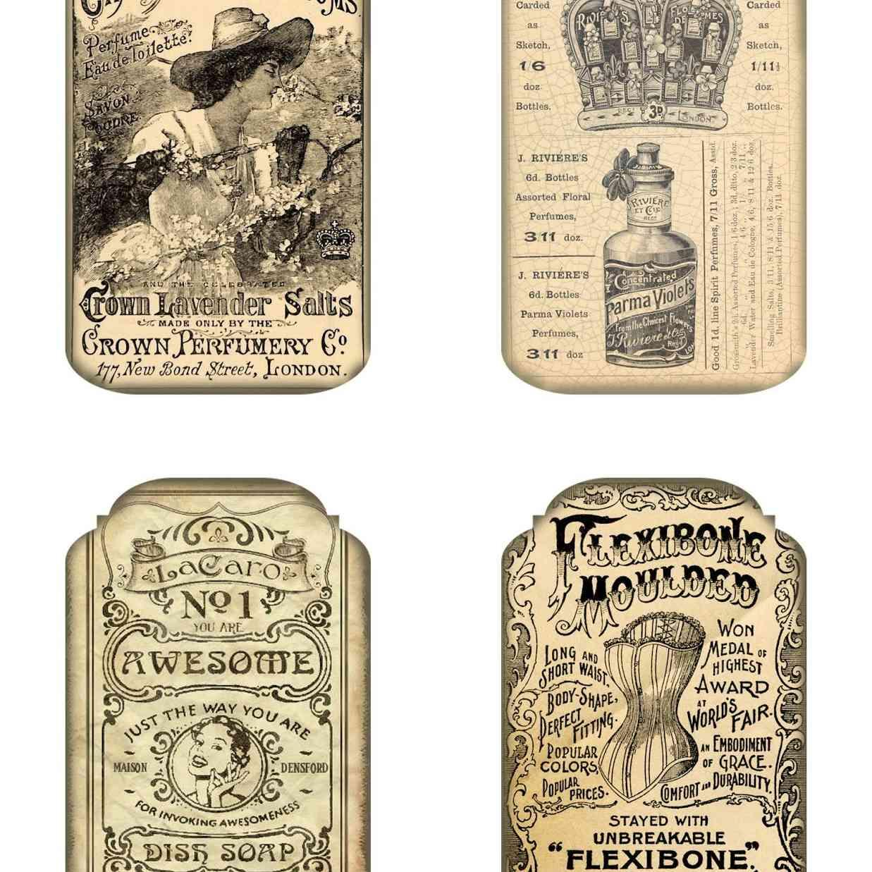 A set of 4 vintage ad tags