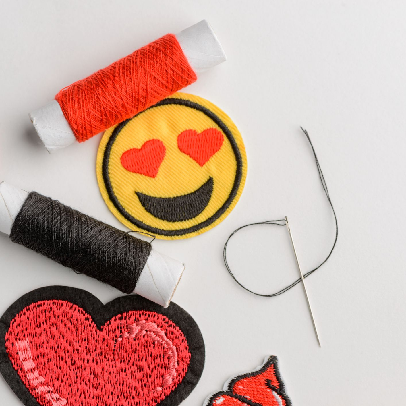 Rad Heart Stick-on Patch Hand Embroidered