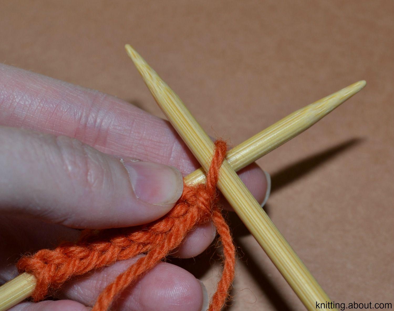 Beginning the purl stitch.