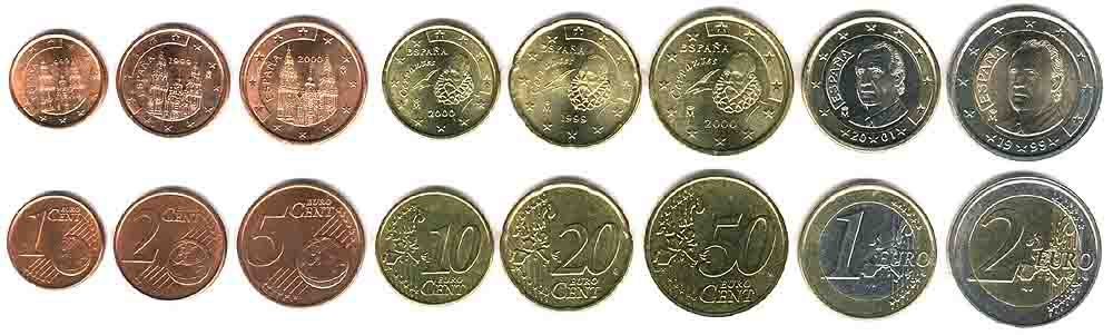 These coins are currently circulating in Spain as money.
