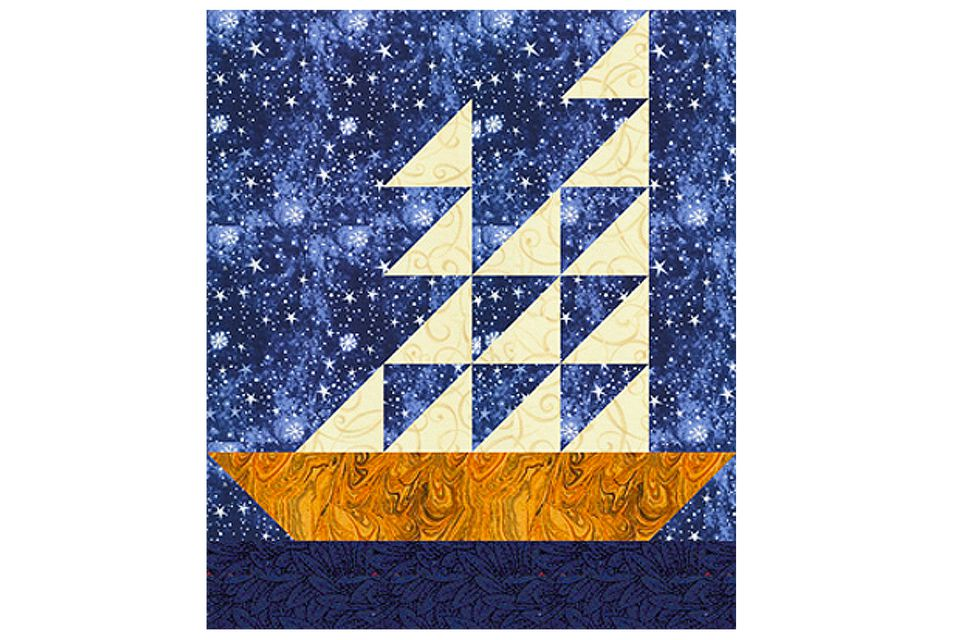 Completed Tall Ship quilt block