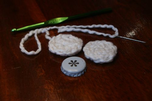 Two Finished Crochet Circles for Covering Bottle Caps